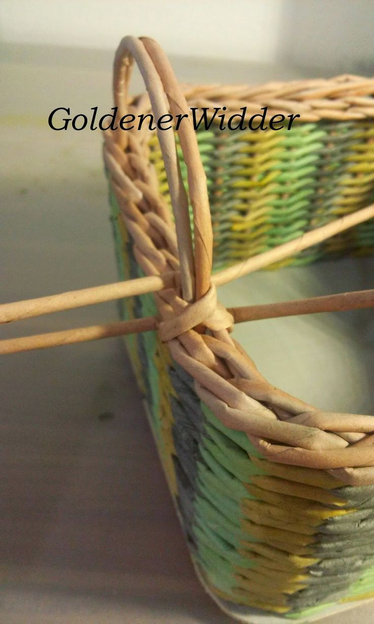 Плетение из газетных трубочек: Боковые ручки к корзинке, в основании вставлена проволока. Ручка. Проволока. Колосок.