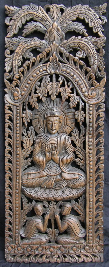 Carved teak wall panel wood carving pinterest