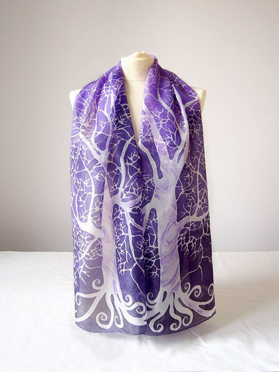Purple scarf 'Purple sky White Tree'  purple scarves
