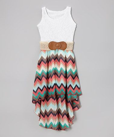 Another great find on #zulily! White & Pink Zigzag Hi-Low Belted Dress - Girls #zulilyfinds