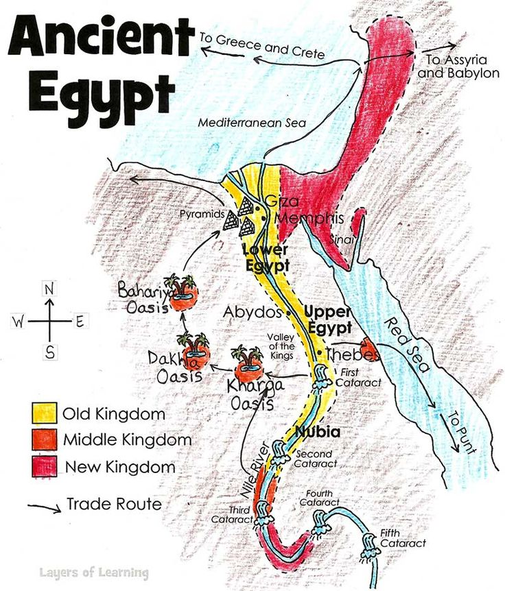 This is a map of ancient Egypt to print, label, and color with your kids.