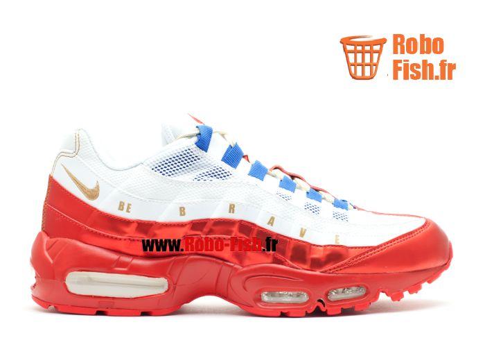 "Nike Air Max 95 Le Db ""Doernbecher"" - Chaussure Nike Running Pas Cher Pour Homme Blanc/Rouge/Bleu 507450-180"