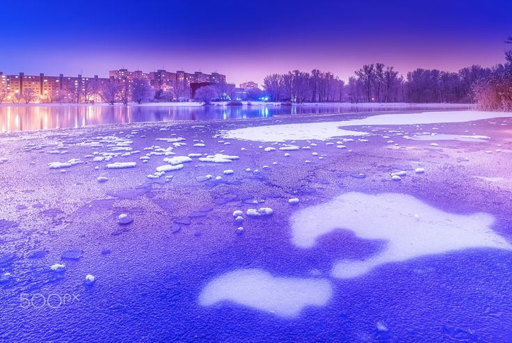 Winter lake III - Winter has many faces. Lake Drazdiak in Bratislava-Petrzalka (Slovakia).
