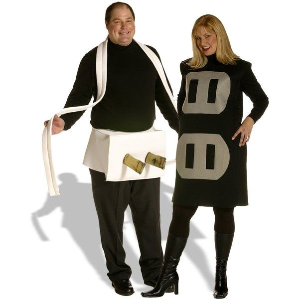 Plug & Socket Couples Set Adult Plus Costume - Plus ($60) ❤ liked on Polyvore featuring costumes, halloween costumes, white costume, silver costume, holiday costumes, adult halloween party costumes and party costumes