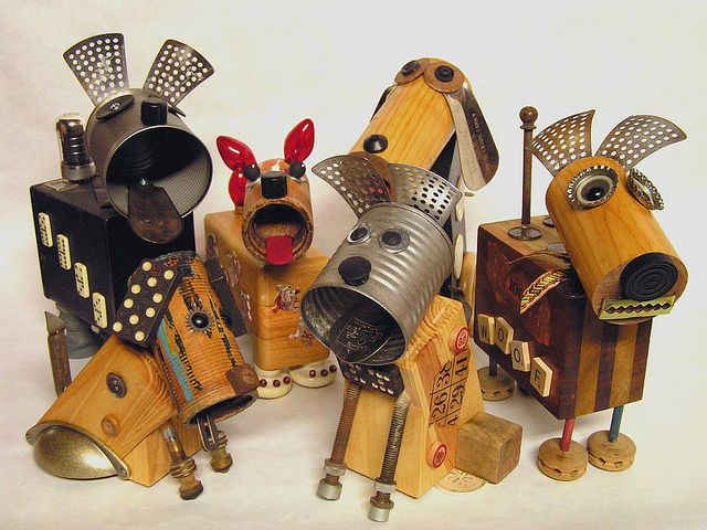 Junkyard dogs by Mixed Media Maz. Gloucestershire Resource Centre http://www.grcltd.org/scrapstore/