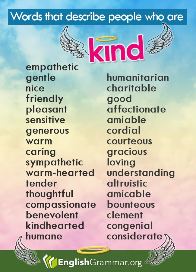 """Synonyms - Words that describe people who are """"Kind"""""""