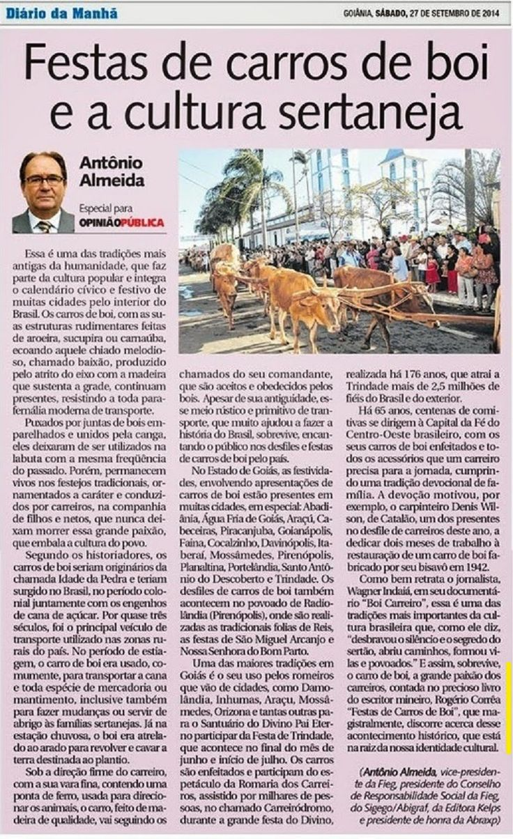 Festas de Carros de Boi: Matéria publicada no Jornal Diário da Manhã faz re...