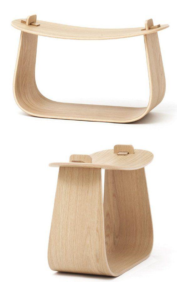 Deux planches sont assemblé. L'une est plus étroite aux extrémités et permet grâce a une ouverture de se coincer dans da planche servant d'assise.