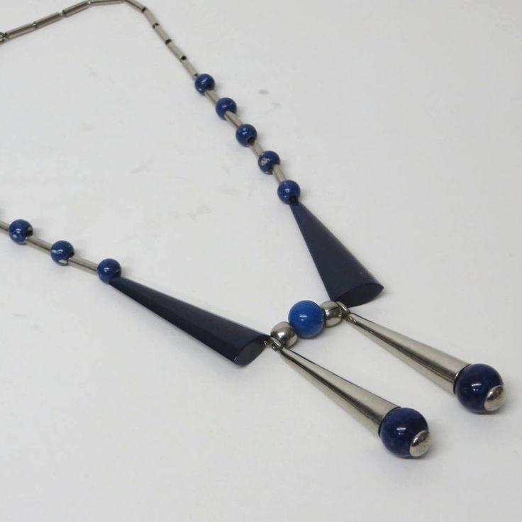 ORIGINAL Kette/Necklace JAKOB BENGEL 30er ART DECO mit blauem Galalith + Glas