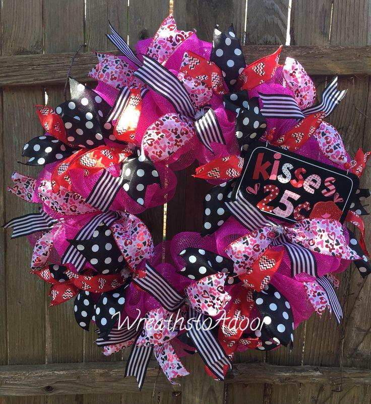 Deco Mesh Valentines wreath available for purchase from Wreaths to Adoor