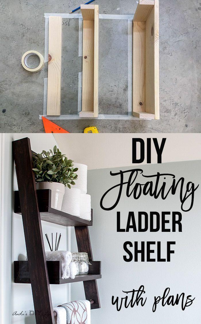 Diy Floating Ladder Shelf With Plans Diy Woodworking Floating