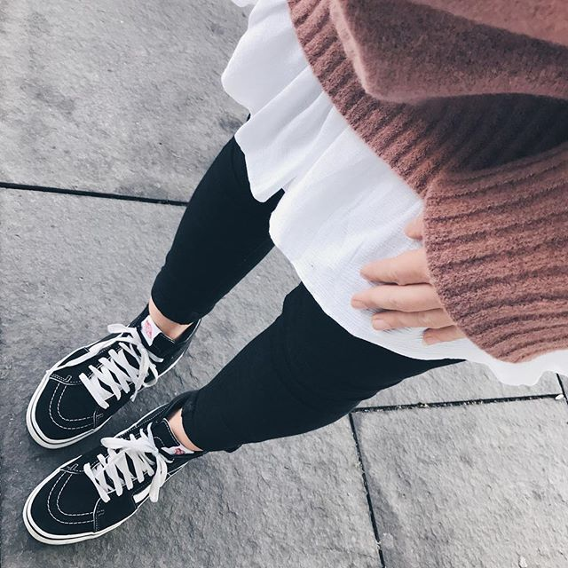 Outfit Fall Autumn Vans Pullover Sweater Rosa Pink Inspo