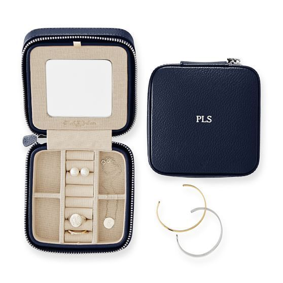 Travel Jewelry Case, Navy with Monogram