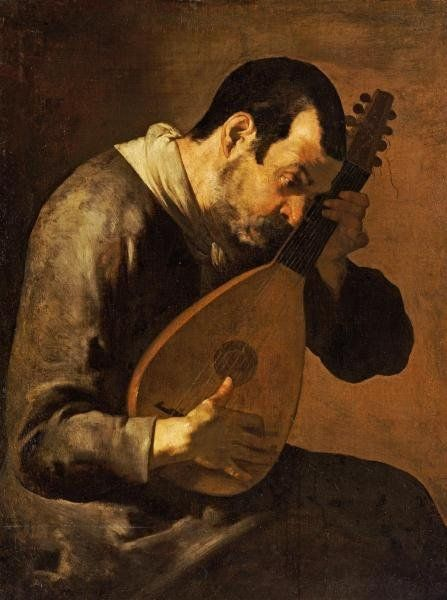 THE SENSE OF HEARING: A MAN PLAYING A MANDOLIN. oil on canvas.