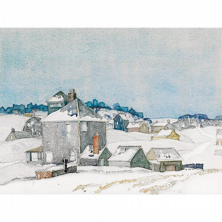 """Village in Winter,"" Franklin Carmichael, 1925, watercolor over graphite, 11 x 15"", private collection."