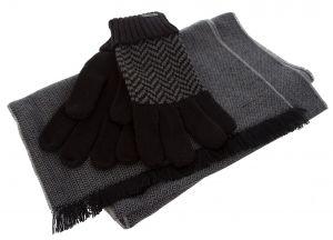 Zwarte Sjaal & Handschoenen met Print Boss Orange