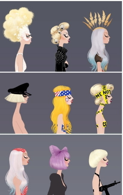 the many styles of Lady GagaArt Design Illustrast, Lady Gaga Outfit, Lady Gaga, Fans, Design Illustration Art, Fashion Illustration, Mothers Monsters, Drawing, Art Illustration