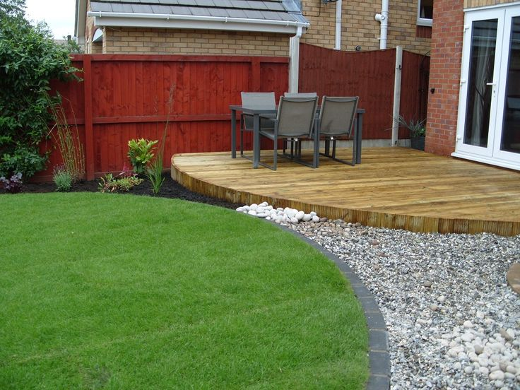 An example of a rounded garden deck