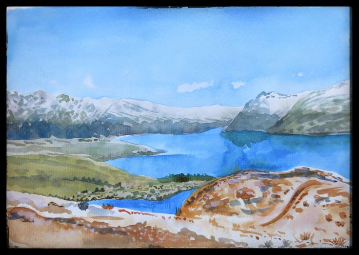 Watercolour. View of Queenstown from the hill. Good memories El! :)