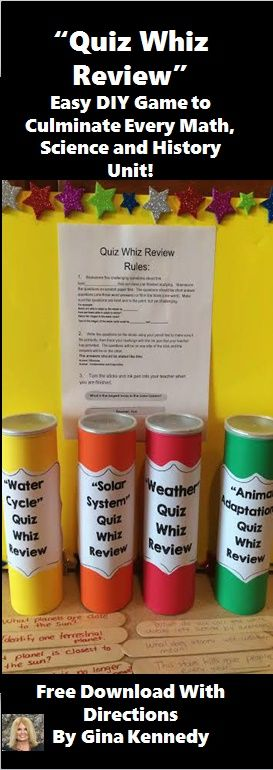 "FREEBIE!  Check out my blog to learn how to make this easy ""Quiz Whiz Review"" game to culminate every unit!  An authentic way to revisit and review science, math and history units throughout the year!  Directions and template included."