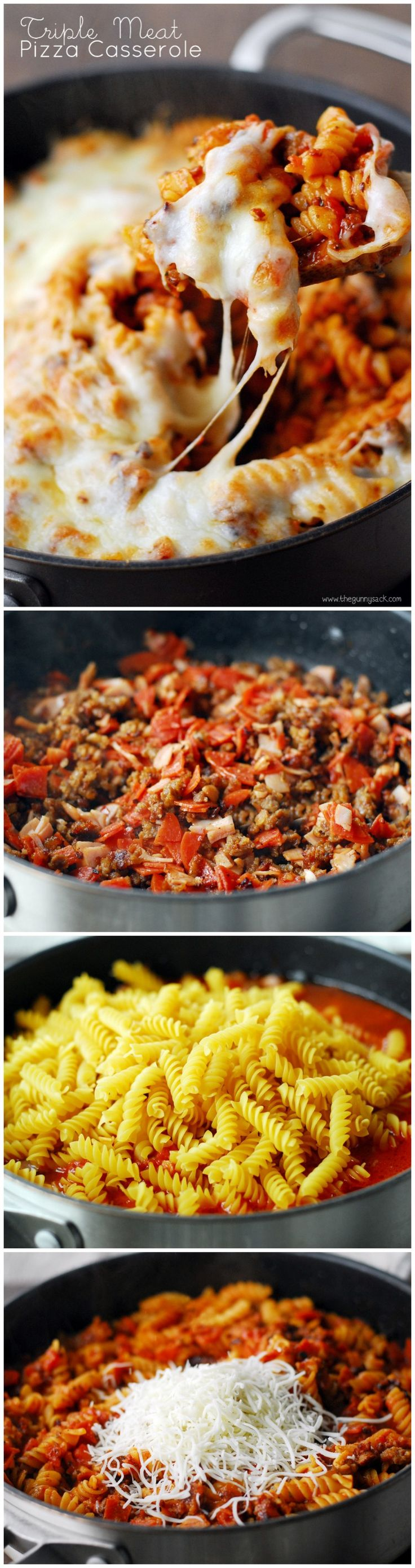 Triple Meat Pizza Casserole is a delicious one-pot dinner that can be made in 30 minutes! #pasta_recipes