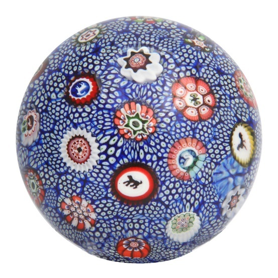 1848 rare antique Baccarat cobalt blue & white carpet ground paperweight with Gridel silhouette canes