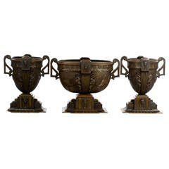 Set of Large Bronze Art Deco, Egyptian Revival Garniture Vases
