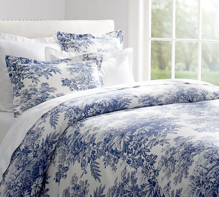 Toile Blue Bedding 3