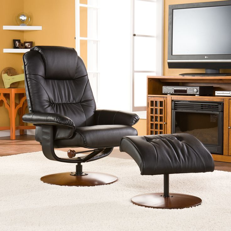 Black leather recliner and ottoman recliner with ottoman