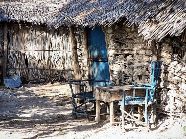 Table for two in a small Kenyan village in the bush. Two hours walk from Watamu.