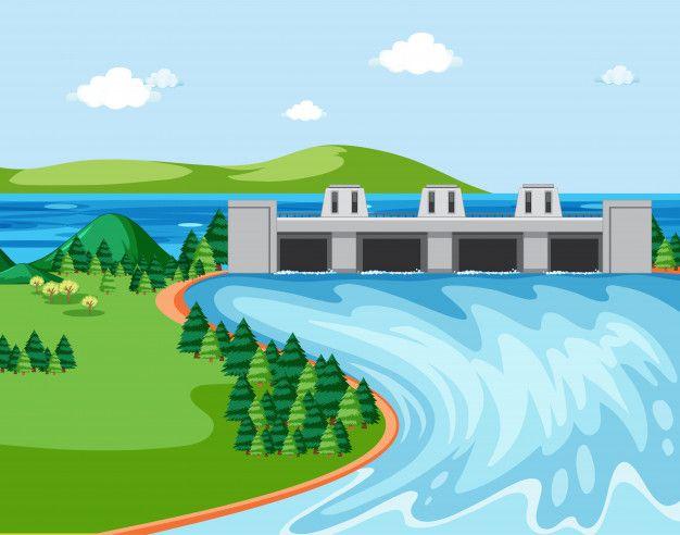 Escena Con Bosque Y Presa Free Vector Freepik Freevector Arbol Agua Edificio Naturaleza Bote De Remos Energia Hidroelectrica Paisaje Marino
