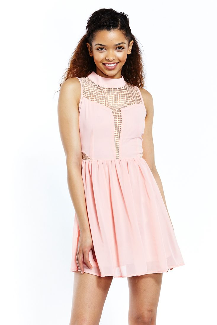 Pink Lace Insert Skater Dress by Liquorish.