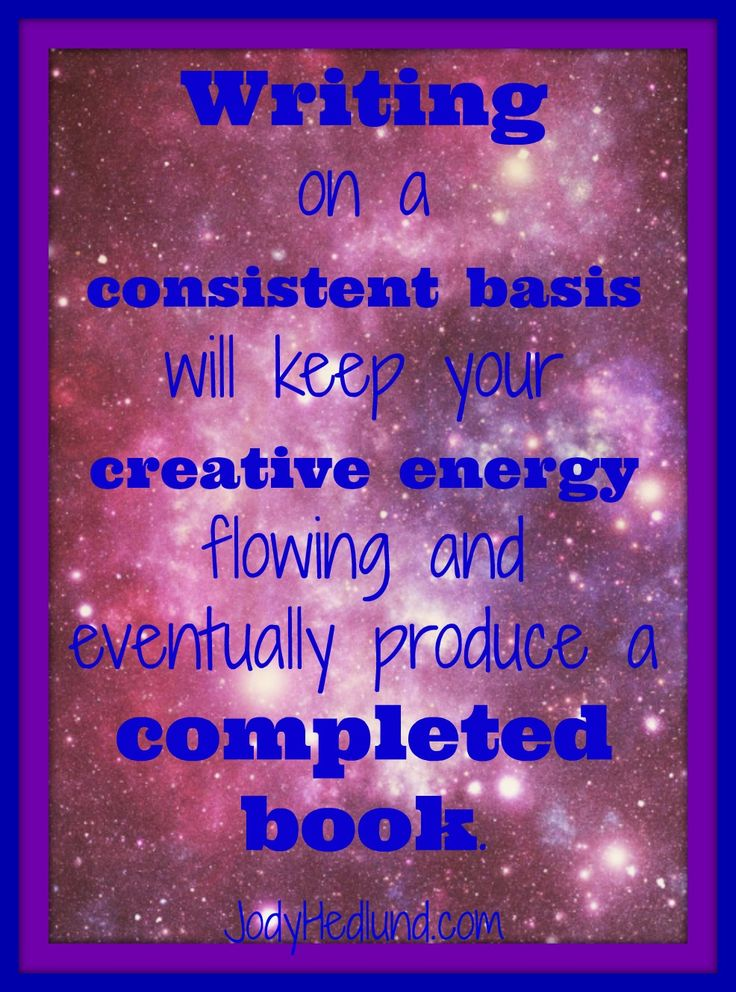 Writing on a consistent basis will keep your creative energy flowing & eventually produce a completed book. http://jodyhedlund.blogspot.com/2013/10/having-self-discipline-all-year-not.html
