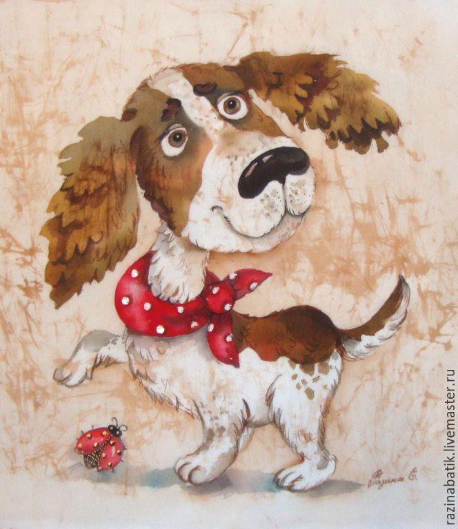 Купить Спаниелька Фрося (рама входит в стоимость) - бежевый, спаниель, собака, картина, друг, Батик