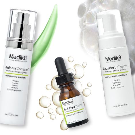 Soothe, protect, hydrate and correct that #rosacea or #redness with Medik8's Red Alert Regime   1 - CLEANSE - Medik8 Red Alert Cleanse  2 - PREVENT - Medik8 C E Tetra  3 - CORRECT - Medik8 Red Alert  4 - HYDRATE - Medik8 Redness Corrector  5 - PROTECT - Sunscreen