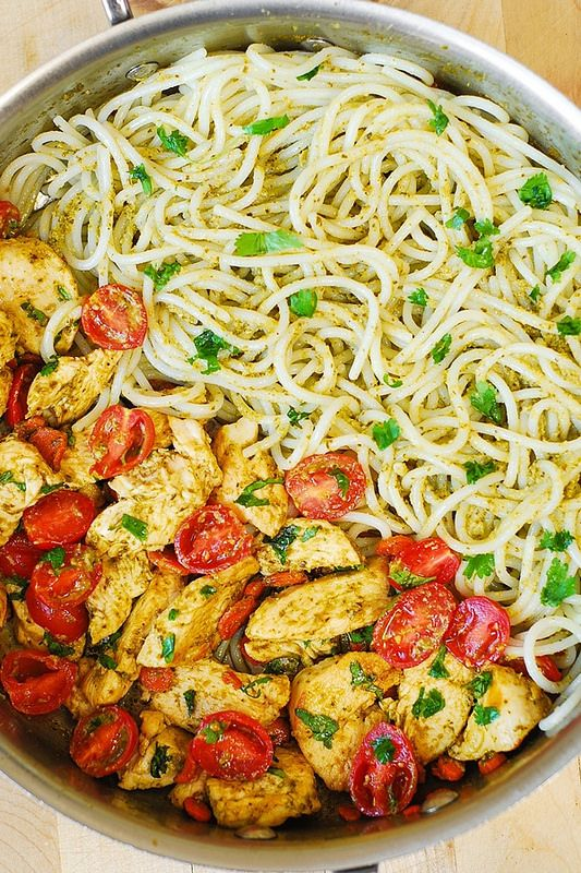 Pesto Chicken, Tomatoes, and Carrots with Parmesan Noodles