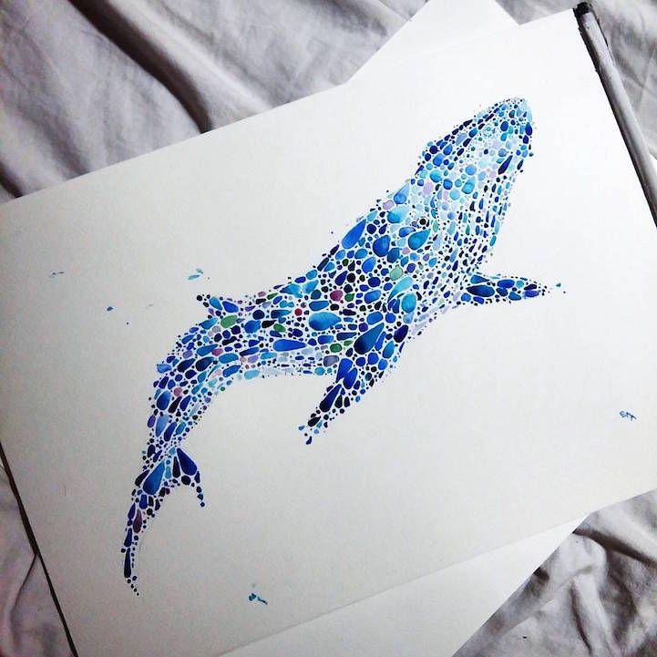 Ilustración de Ballena azul. Hecha con Puntos por Ana Enshina