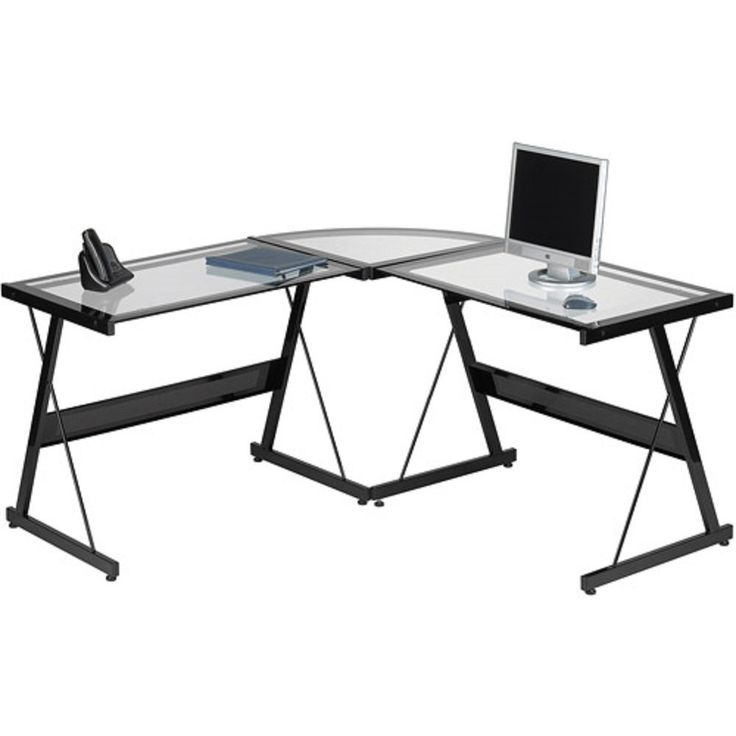 L Shaped Computer Desk Contemporary Laptop Workstation Perfect Piece Of Office Furniture Satisfaction Guaranteed 3 Piece Glass Corner Desk With Spacious Work Surface Table Ideal for Home Office Or College Dorm. Ideal for both home and office settings. Features a spacious desktop work surface made of tempered glass. Sandy black, powder-coated finish. Spacious work surface for your computer, electronics, files and more. Provides sturdy support for your hands, arms and wrists while working.