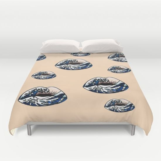 #Lips #Pop #Art #beige  #Duvet #Cover by Peter Reiss #bedroom #home #decor