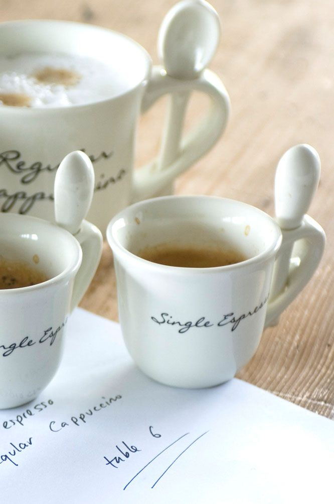 Single espresso cups with attached spoon...so cute!  I want...