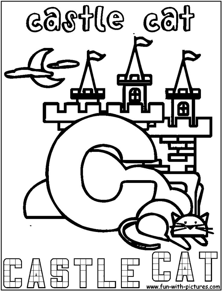 alphabet coloring pages castle - photo#5