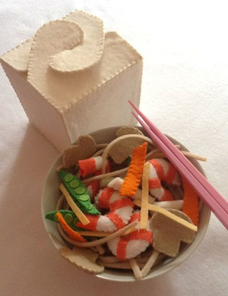 felt food CHINESE TAKEOUT takeaway pretend play food. $40.00, via Etsy.