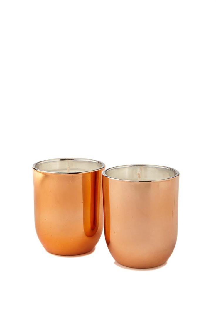 metallic candle set, ROSE GOLD