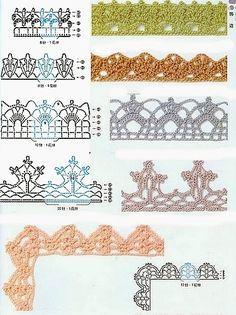 Se desideri altre schemi simili a questi all'uncinetto, vedi anche i 75 bordi di pizzo all'uncinetto. Per decorazioni, angoli, bordure e alt...
