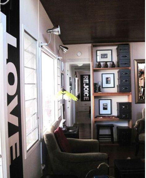 living room after complete remodel in vintage mobile home