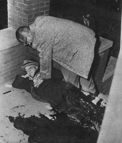 Roger Touhy, a Capone rival, moments after a mob hit at 125 N. Lotus. The murder occurred just weeks after Touhy finished serving 26 years in prison. He had been framed by Capone for the kidnapping of Max Factor's brother. Chicago