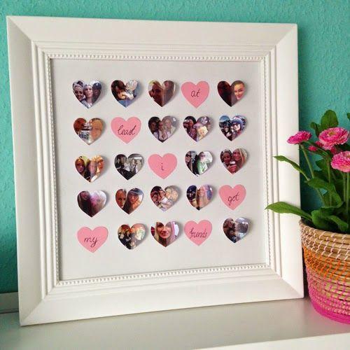 Leinwand mit Herzen - Ein selbst gebasteltes Geschenk mit vielen tollen Erinnerungen. Alle Fotos in Herzform in einem Bilderrahmen. Mit wenig Material viel Freude bereiten...