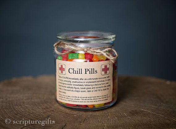 Chill Pill for FRIEND Glass Apothecary Jar Funny by scripturegifts