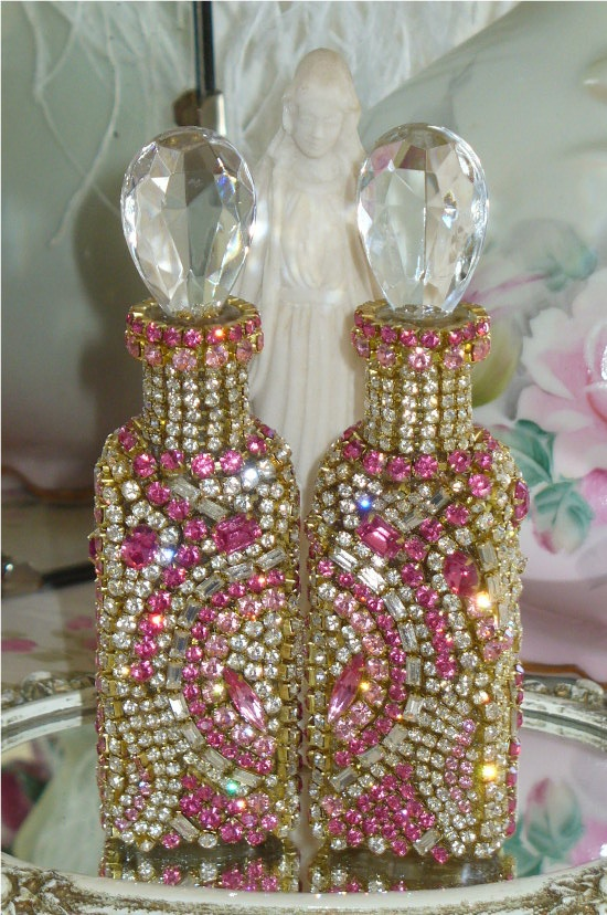 Antique Bejeweled Bottle Pink Bling Set of Two From The Collection  By Debbie Del Rosario