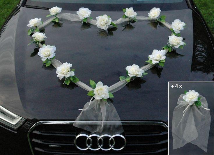 Blau // Grun ORGANZA M Auto Schmuck Braut Paar Rose Deko Dekoration Autoschmuck Hochzeit Car Auto Wedding Deko Girlande PKW